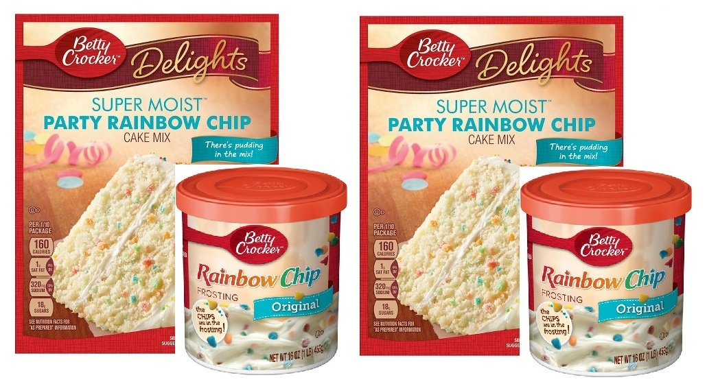 Betty Crocker Super Moist Party Rainbow Chip Cake Mix and Betty Crocker Rainbow Chip Frosting Bundle - 2 of Each - 4 Items. ''There's Pudding in the mix!'' Cake Mix