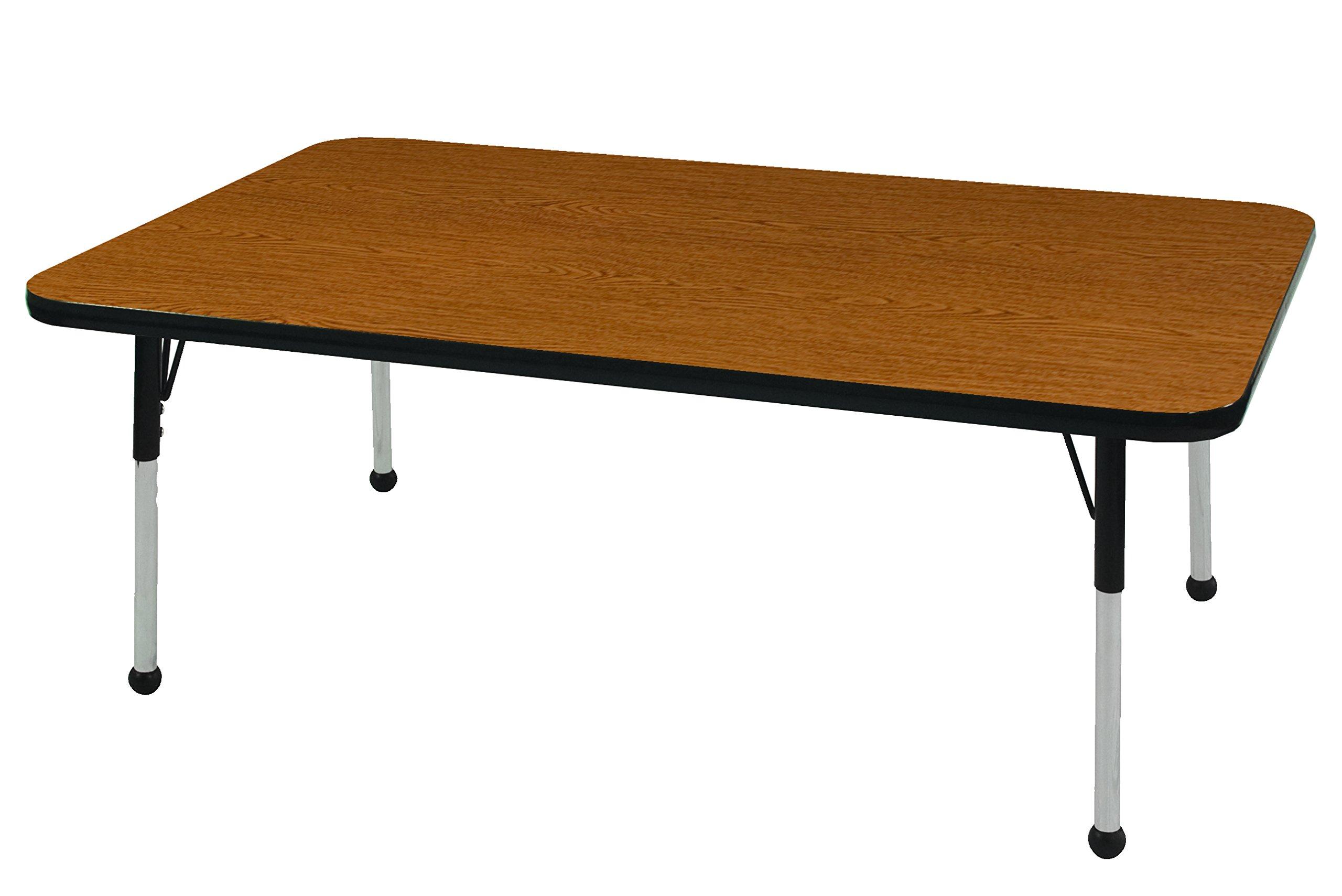 ECR4Kids Mesa T-Mold 30'' x 48'' Rectangular School Activity Table, Toddler Legs w/ Ball Glides, Adjustable Height 15-23 inch (Oak/Black)