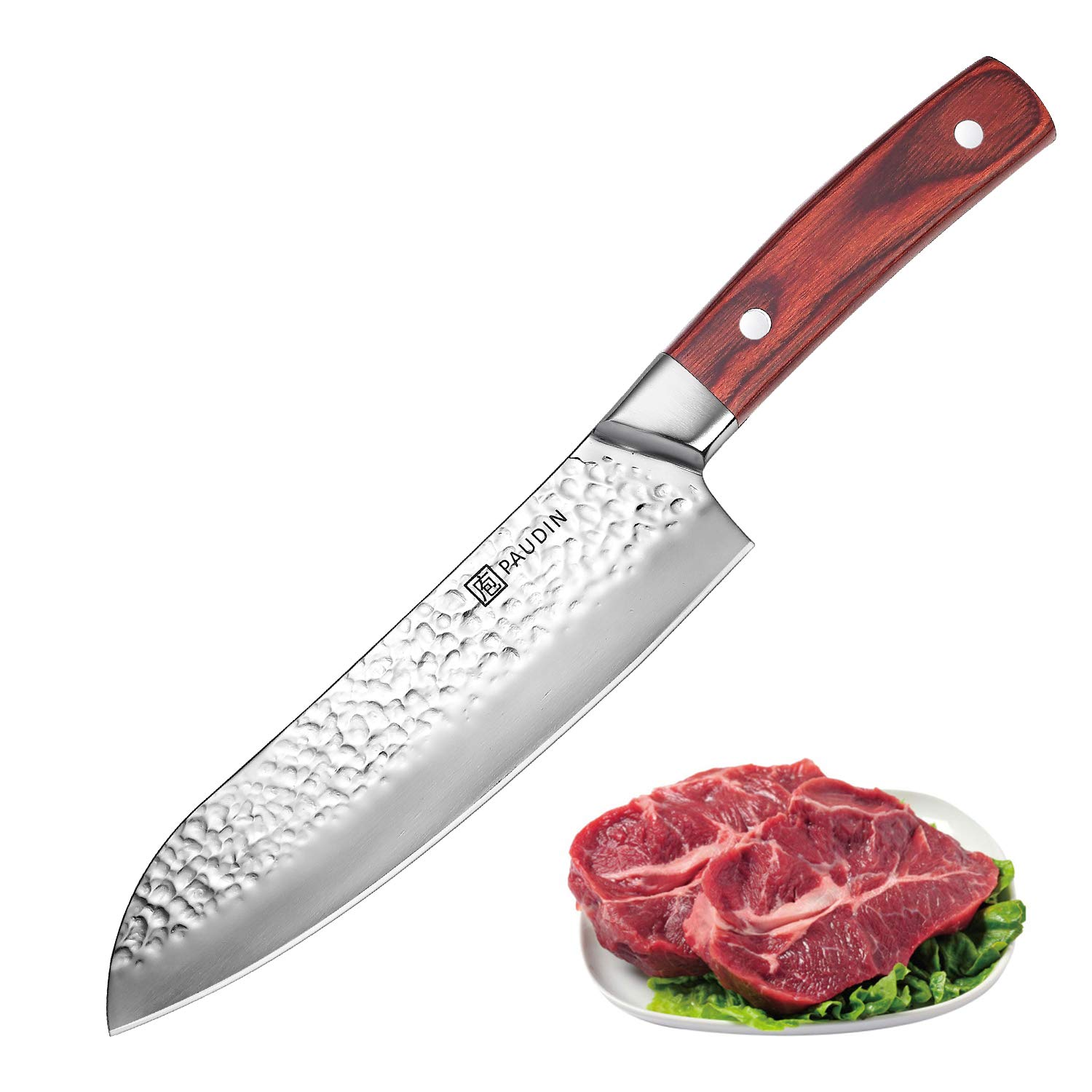 Santoku Knife 7 Inch, PAUDIN Pro kitchen knife High Carbon German Stainless Steel 7Cr17Mov Hammered Pattern, Sharp Knife with Ergonomic Pakka Wood Handle by PAUDIN (Image #1)