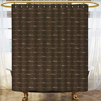 Anhounine Brown Shower Curtains Sets Bathroom Dark Backdrop Image With Motivational Letterings Hope Love Fun