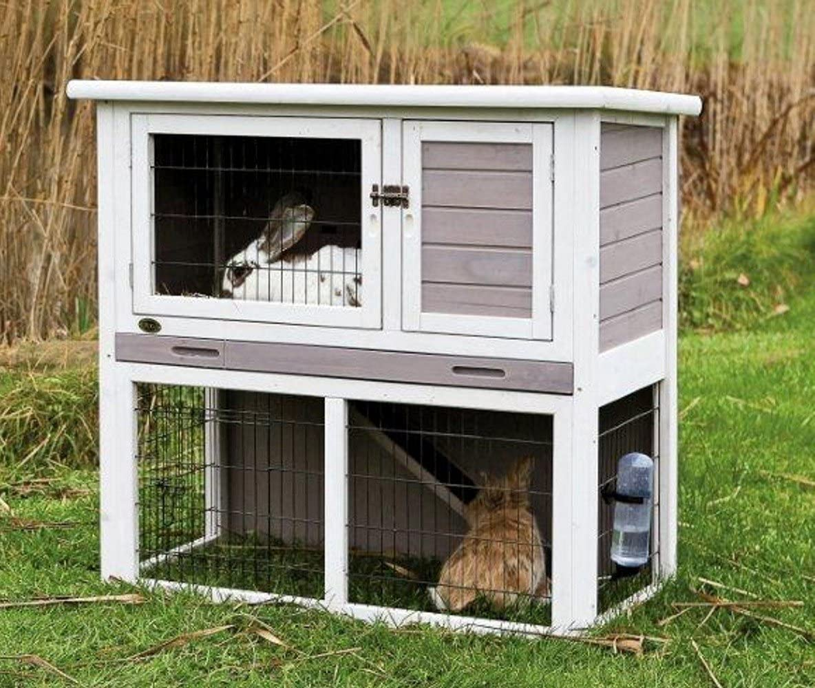 Indoor Outdoor Wooden Rabbit Hutch with Sloped Roof  Gray/White