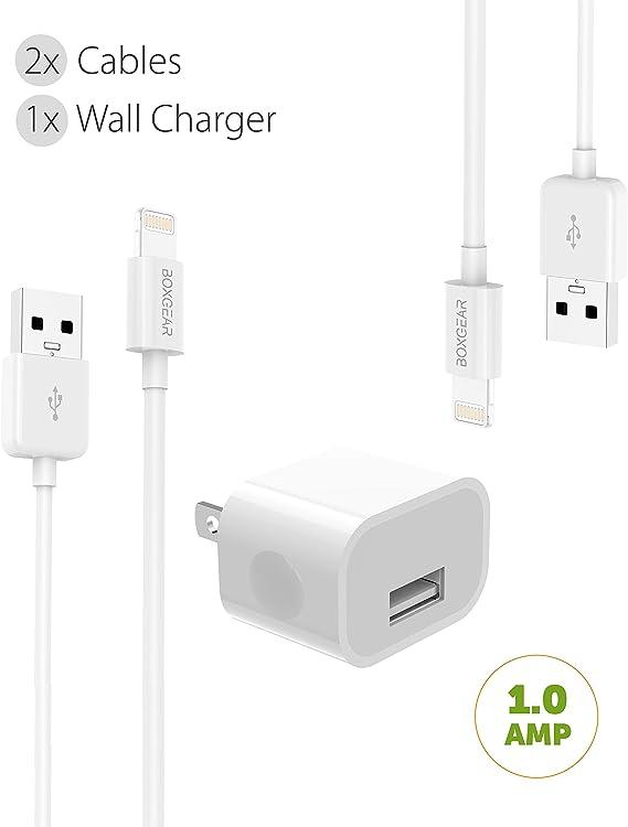 iPhone cargador 3 Pack conjunto de cargador de viaje kit de cable Lightning de Apple por boxgear – {1}, certificado por Apple USB Cable cargador de pared 2 cables (color blanco): Amazon.es: Electrónica