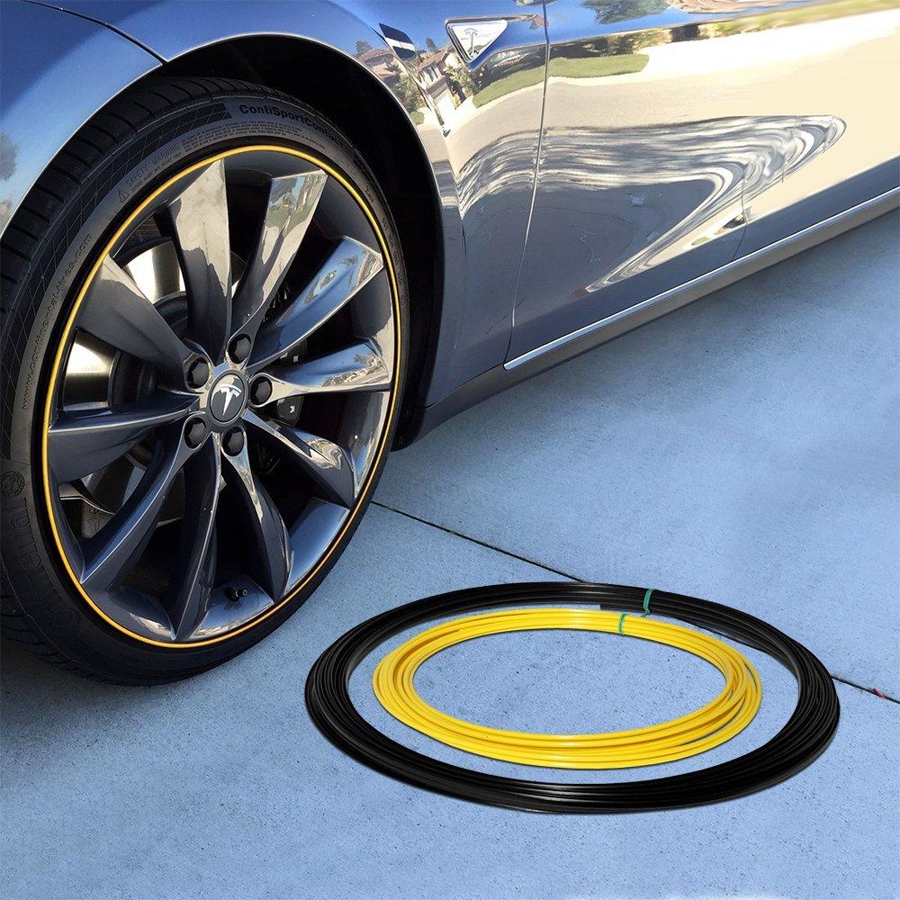 Wheel Bands Yellow Insert in Black Track Pinstripe Rim Edge Trim