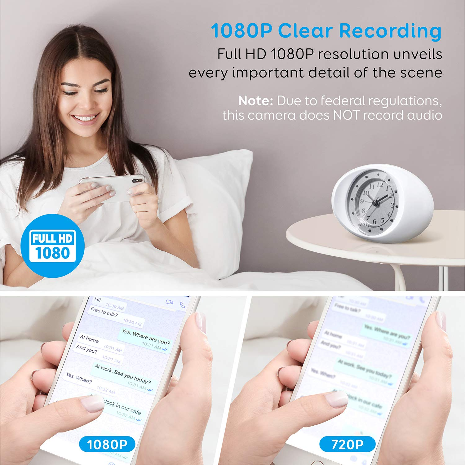 Omples Hidden Camera Spy Camera Wireless Security Nanny Cam with 1080P Full HD, WiFi, Night Vision, Motion Detection, Cell Phone App, No Sound Recording