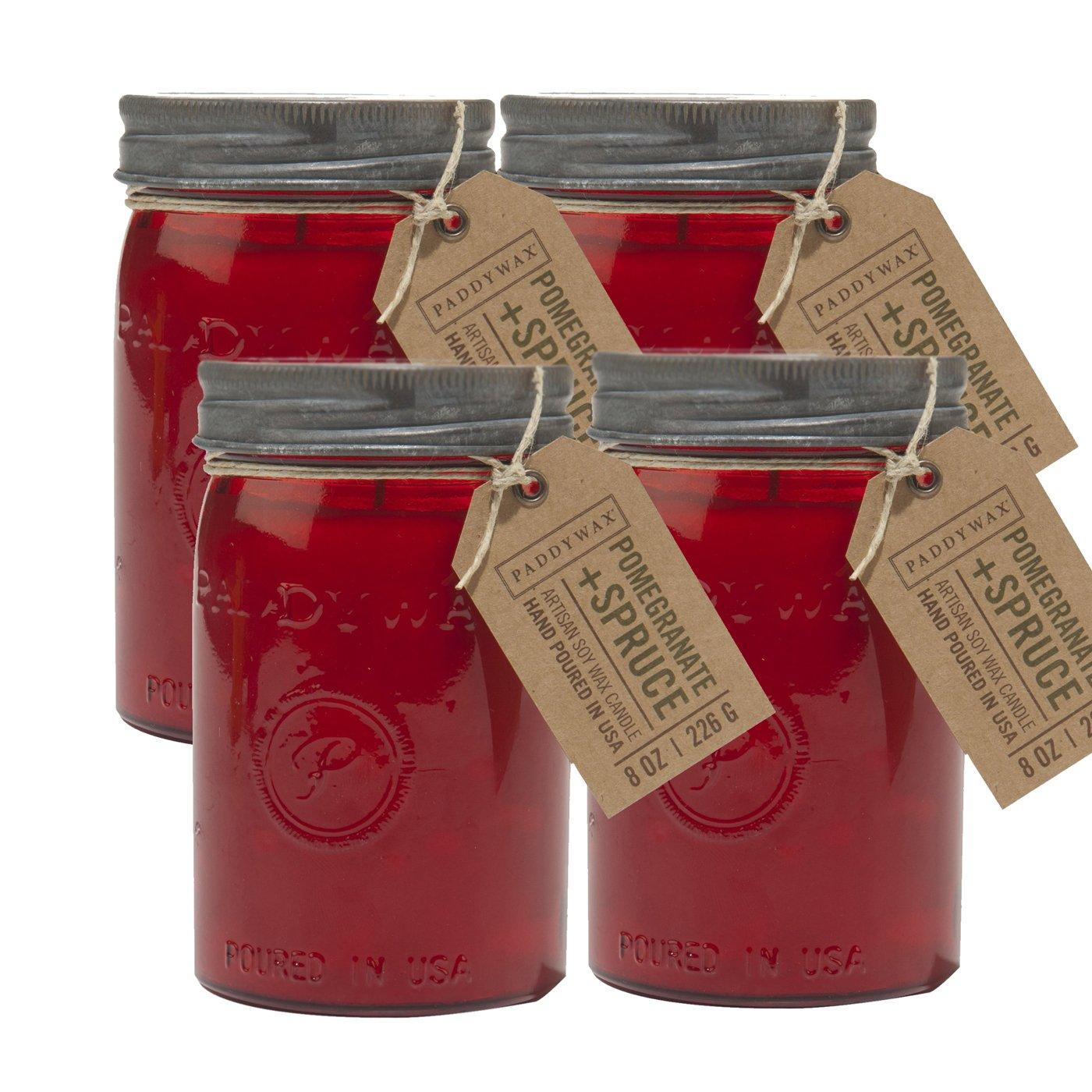 Paddywax Candles Relish Jar Collection Candle, 9.5-Ounce, Red Pomegranite & Spruce - Set of 4