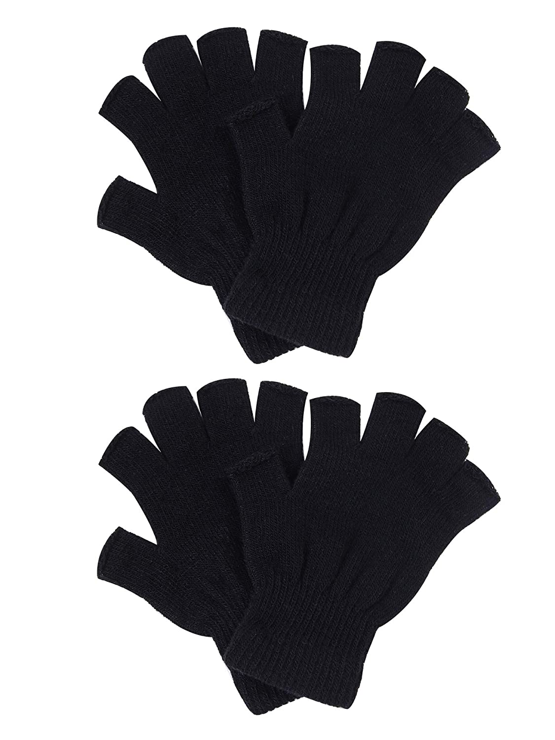 Men or Teens Cooraby 2 Pairs Unisex Warm Half Finger Gloves Winter Stretchy Fingerless Gloves Typing Gloves for Women