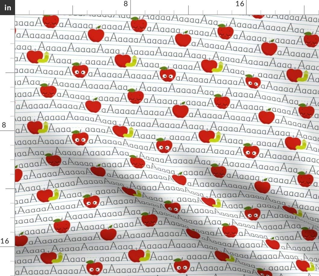 Spoonflower Fabric - Apples Fruit Food Kitchen Kawaii School Kids Classroom Teacher Printed on Petal Signature Cotton Fabric by The Yard - Sewing Quilting Apparel Crafts Decor