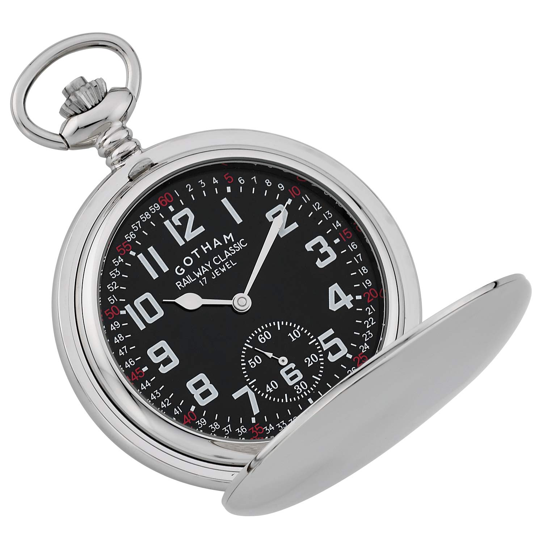 Gotham Men's Silver-Tone Railroad Dial Double Hunter 17 Jewel Mechanical Pocket Watch # GWC18806SB by Gotham (Image #3)
