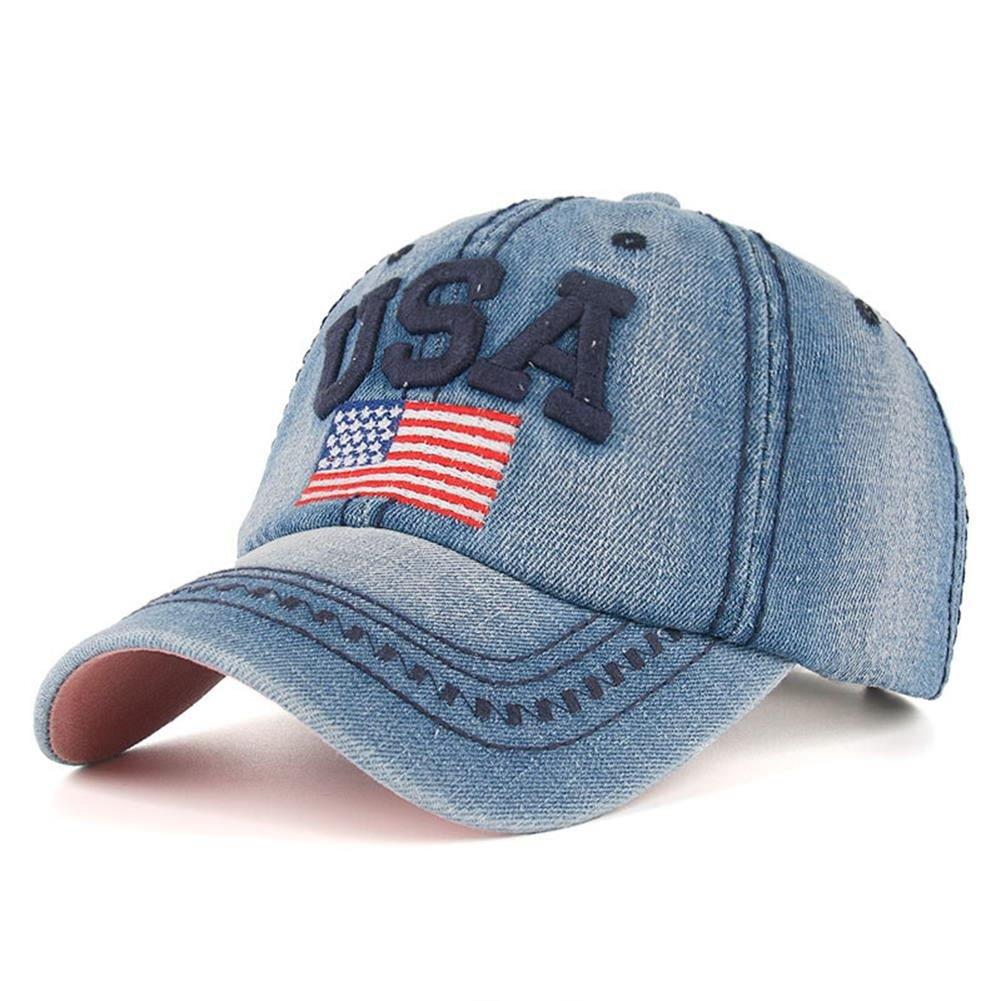 DEERMEI American Flag Embroidered Denim Baseball Cap Adjustable Snapback Hip Hop Flat Hat Women Men