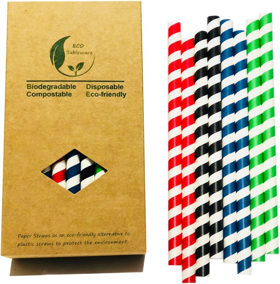 Jumbo Drinking Straw Sucker| Large Super Big Paper Straw| Colorful Green/Red/Navy/Black Stripes Each 8 Total 32 Smoothie Straws| Ultra Size Assorted Color Drinking Straws|Mixed Color Wide Daily Use