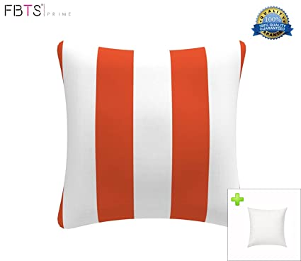 Fbts Prime Outdoor Decorative Pillows With Insert Orange And White Stripe Patio Accent Pillows Throw Covers 18x18 Inches Square Patio Cushions For