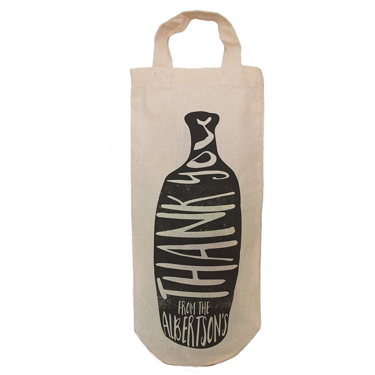 Personalised Thank you Fun Gift Bottle Bag. Simple Black print design With Handles. By Inspiredcreativedesign Inspired Creative Design