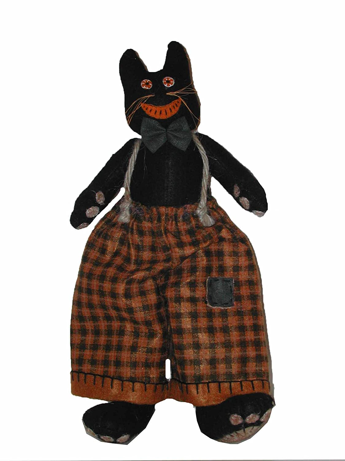 Craft Outlet Inc Black Cat with Orange in Plaid Overalls Figurine Multi COIIN F50362