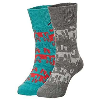 san francisco c28d5 d773e Image Unavailable. Image not available for. Color  Nike Kids Air Jordan  Retro 2-Pack Crew Socks, Light Green Red