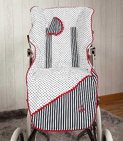 Babyline Marinero - Colchoneta para silla de paseo, color azul/rojo