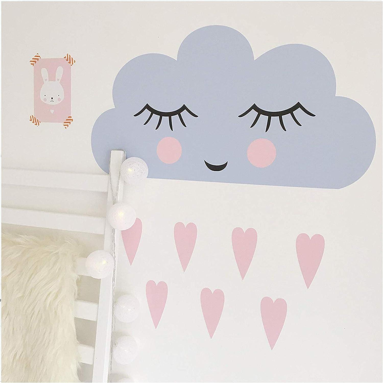 Happy Cloud Cushion Soft Grey//Pink Nursery Children/'s Playroom Bedroom Fun