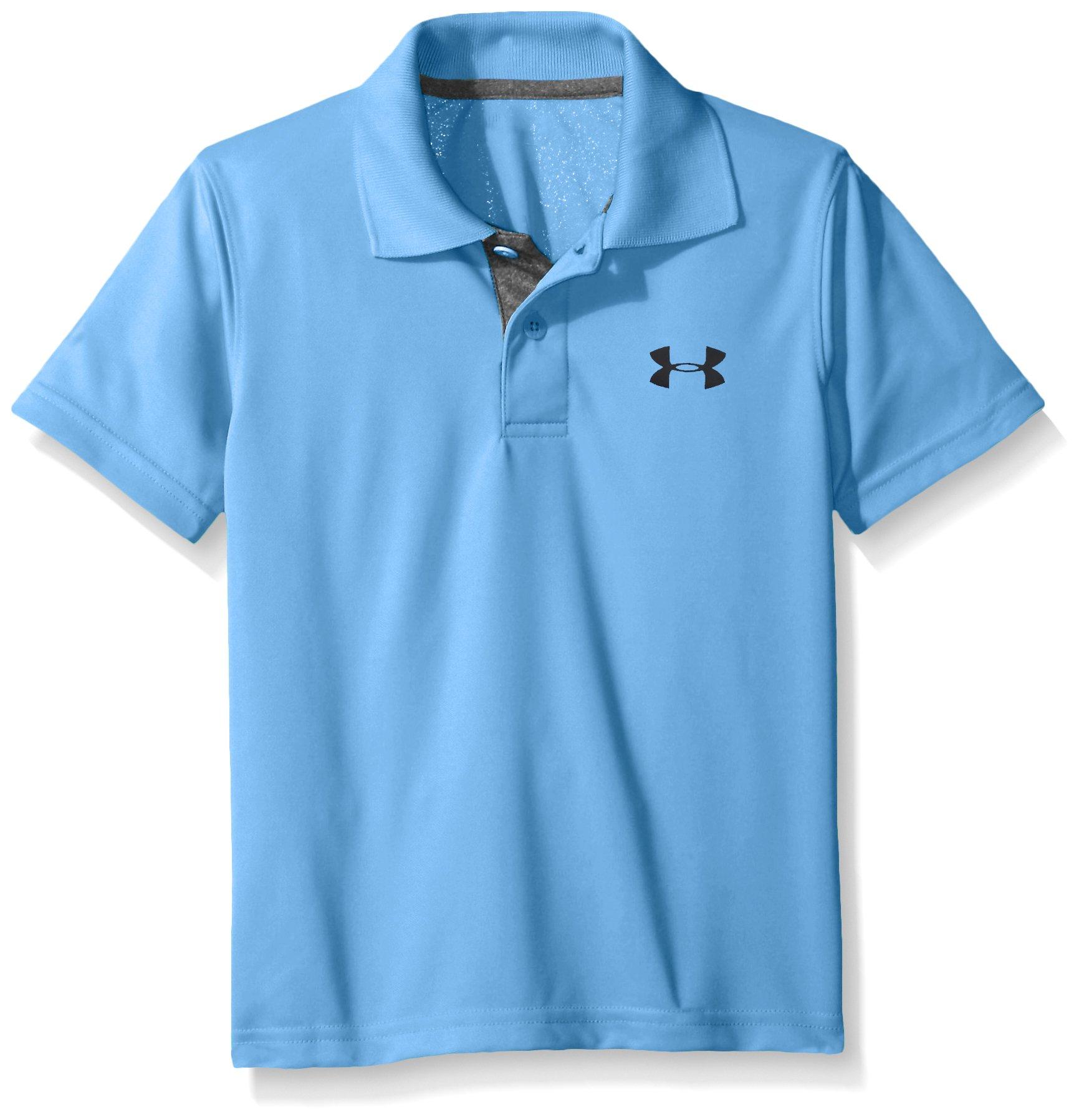 Under Armour Boys' Little Ua Logo Short Sleeve Polo, Water, 6