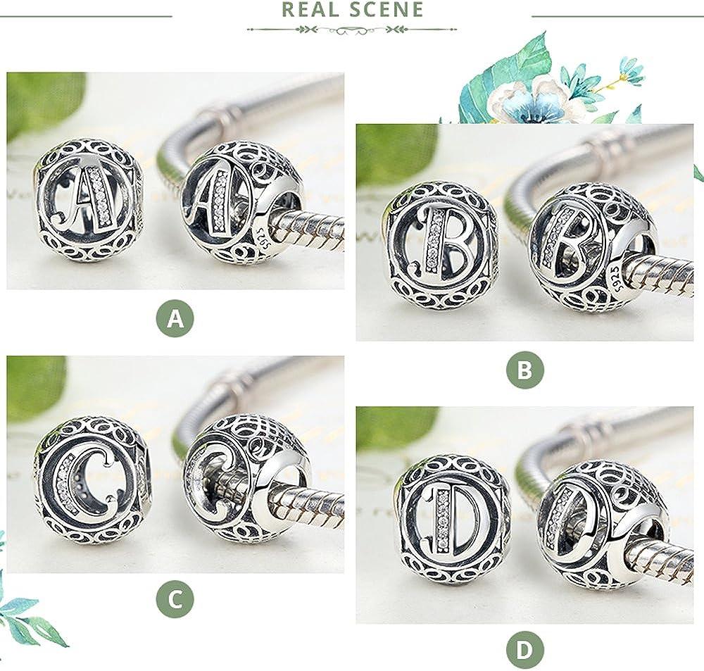 Breloques Perles compatibles avec les bracelets /à breloques PSC008 100//% argent sterling 925/authentique et zircon transparent Lettres de lalphabet