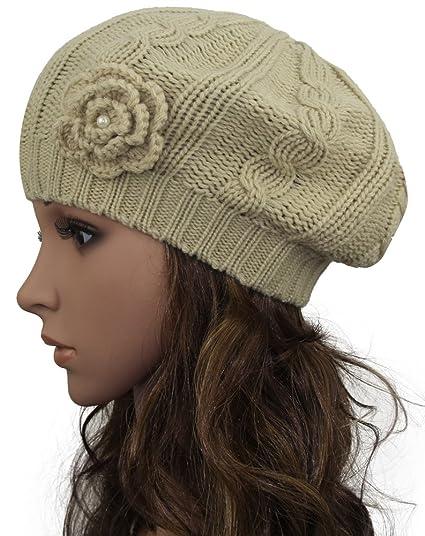 a2989aff0b156 MINAKOLIFE Women Crochet Braided Knit Flower Beret Baggy Beanie Ski Cap Hat  Beige