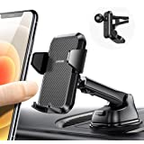 3 in 1 Car Mount for Phone Cradle 360° Rotation by One Quick Release Button Super Steady Air Vent Phone Holder Fit with…