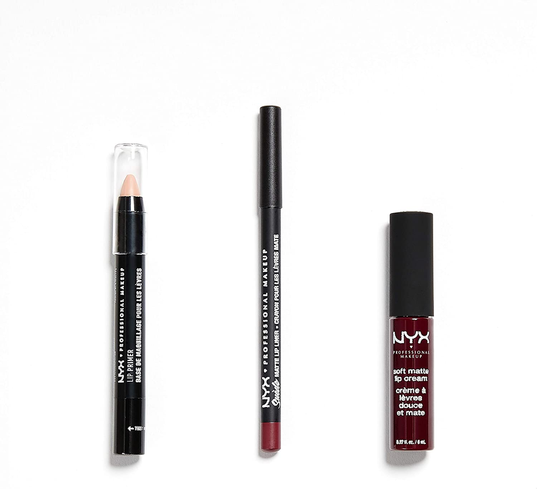 NYX Professional Makeup Kit de maquillaje de labios Copenhagen, Pintalabios Soft matte Lip Cream, Perfilador Suede Matte Lip Liner, Prebase Lip Primer, Set de 3 productos