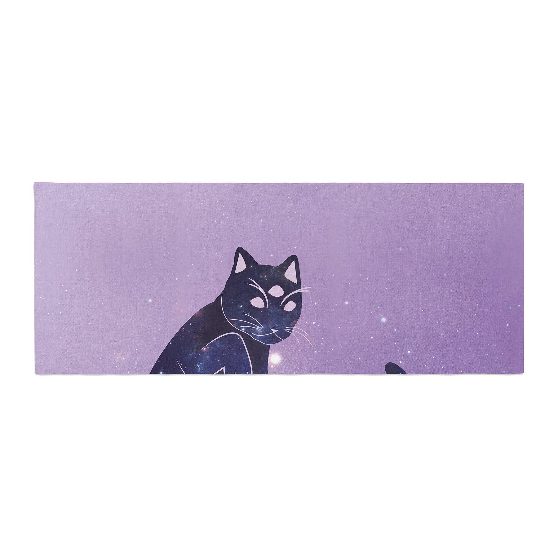 Kess InHouse KESS Original Cosmic Kitten Celestial Animal Bed Runner, 34'' x 86''