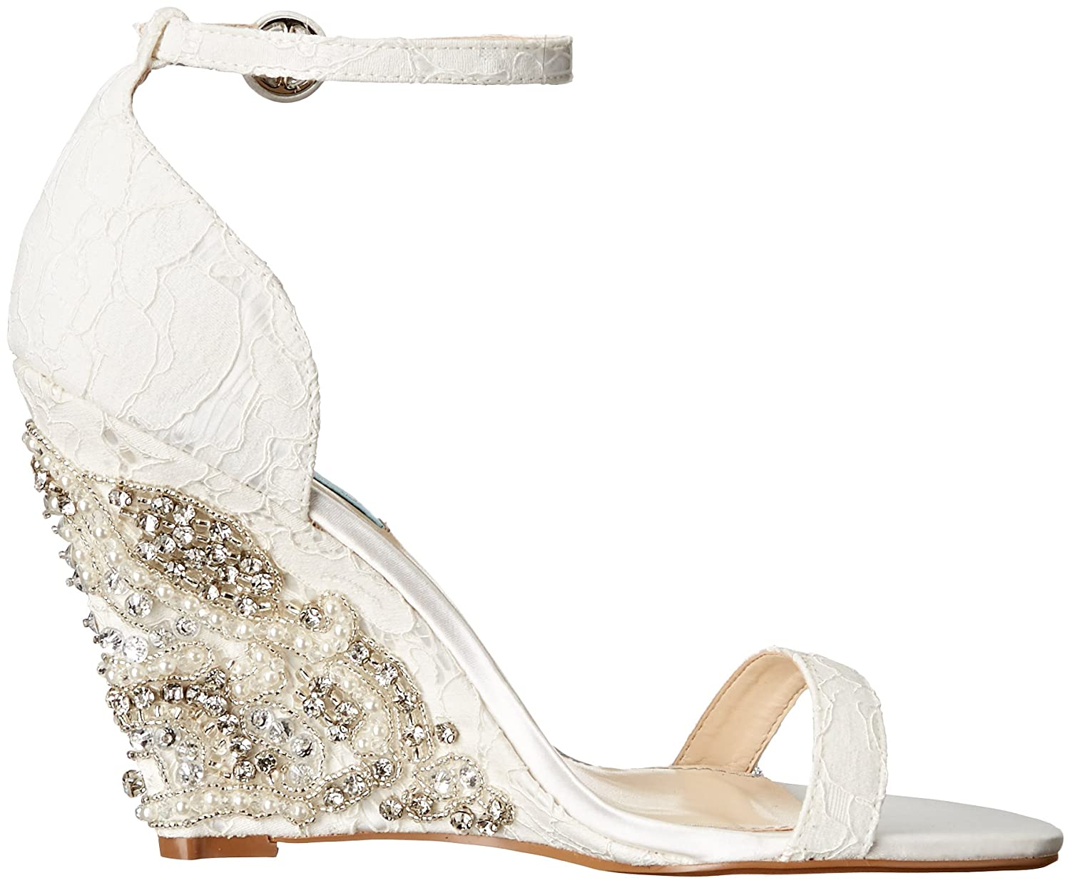 Blue by Betsey Johnson Alisa Lace and Satin Wedge Sandals kCC95X