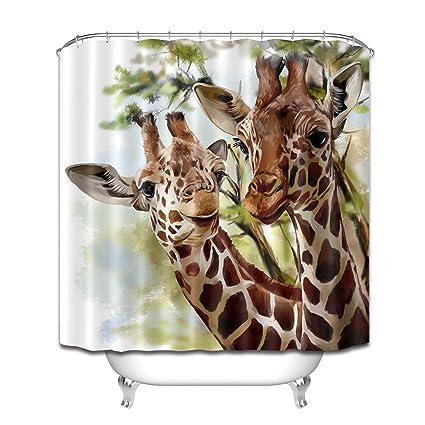 "71/"" Funny Giraffe Waterproof Fabric Bathroom Shower Curtain Animal Decor 12 Hook"