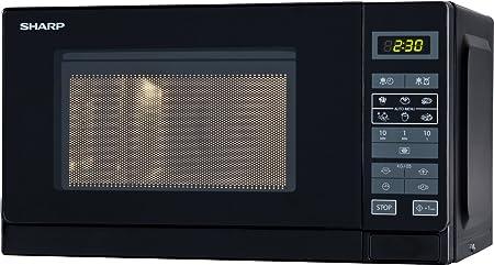 Sharp R-242 BKW Microondas 20L, Control Táctil, 800W, Black, 800 W, 20 litros, Negro