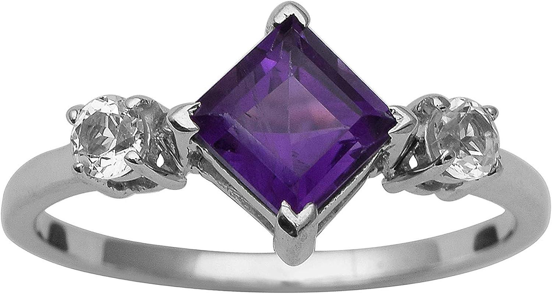 Shine Jewel Anillo de solitario en forma de cometa de plata esterlina con piedras preciosas de amatista 925 para mujer