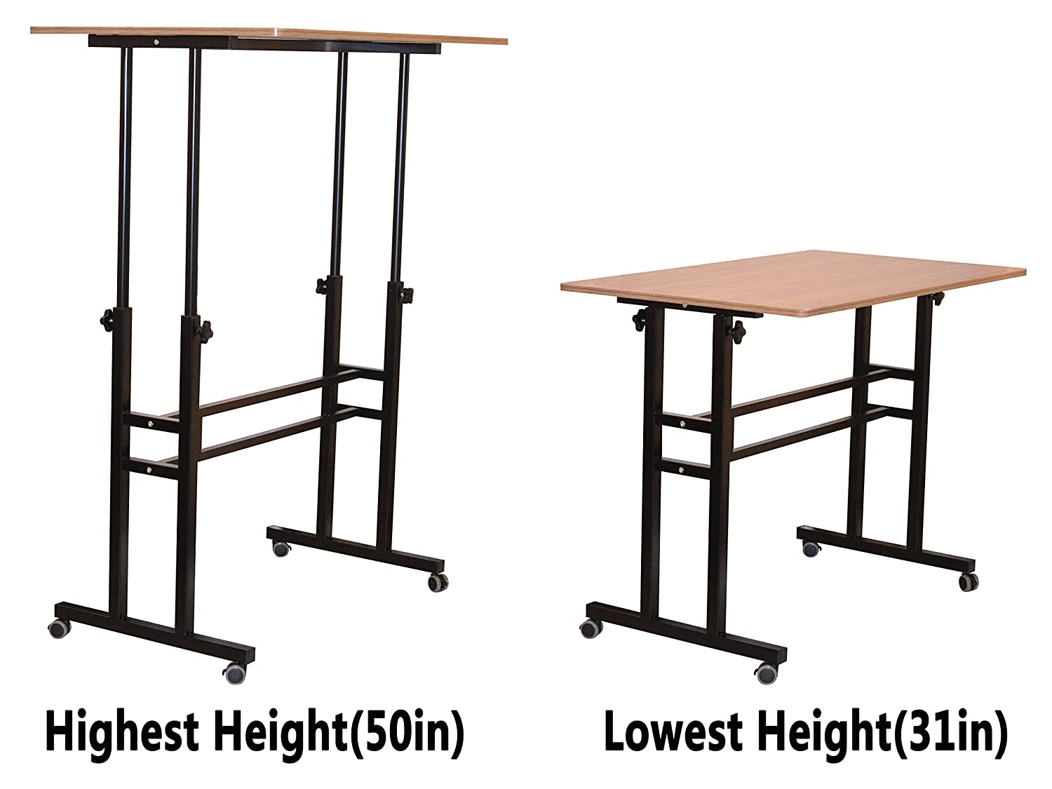 Akway Small Computer Desk Standing Desk with Wheels 31.4 x 19.6 inches Height Adjustable Desk Sit Stand Desk Rolling Cart Compact Computer Desk Black