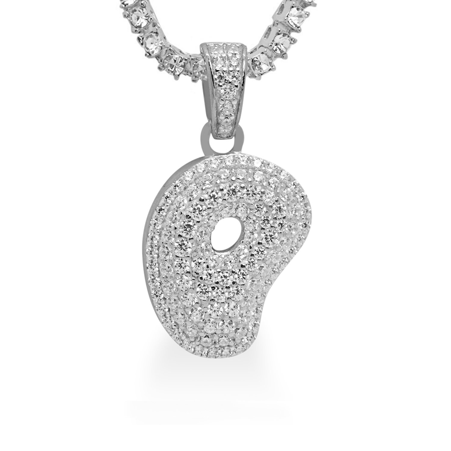 925 Sterling Silver White Gold-Tone Iced Out Hip Hop Swag Bling Bubble Letter P Pendant with 18 1 Row Chain