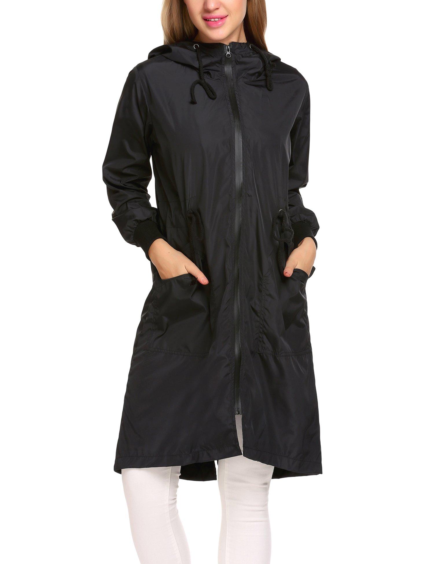Zeagoo Women's Waterproof Front-Zip Lightweight Hoodie Hiking Cycling Outdoor Raincoat Active Jacket,Black,XXL by Zeagoo (Image #4)
