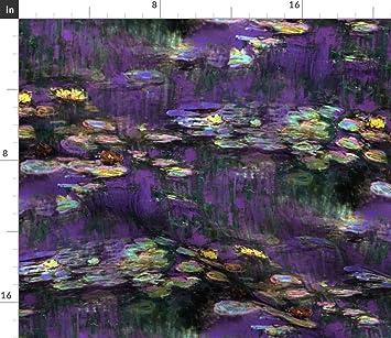 Tejido, Diseño de lirios – Claude Monet ~ Waterlilies ~ crepúsculo por peacoquettedesigns – tela