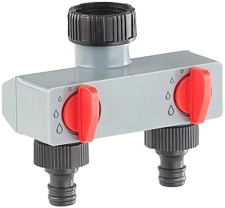 Royal Gardineer Schlauchkupplung: Regulierbarer 2-Fach-Wasserverteiler für die Gartenbewässerung (Bewässerung Verteiler)