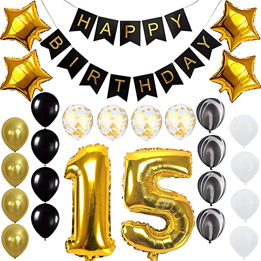 Amazon.com: Quinceanera Happy 15th Birthday Banner Balloons ...