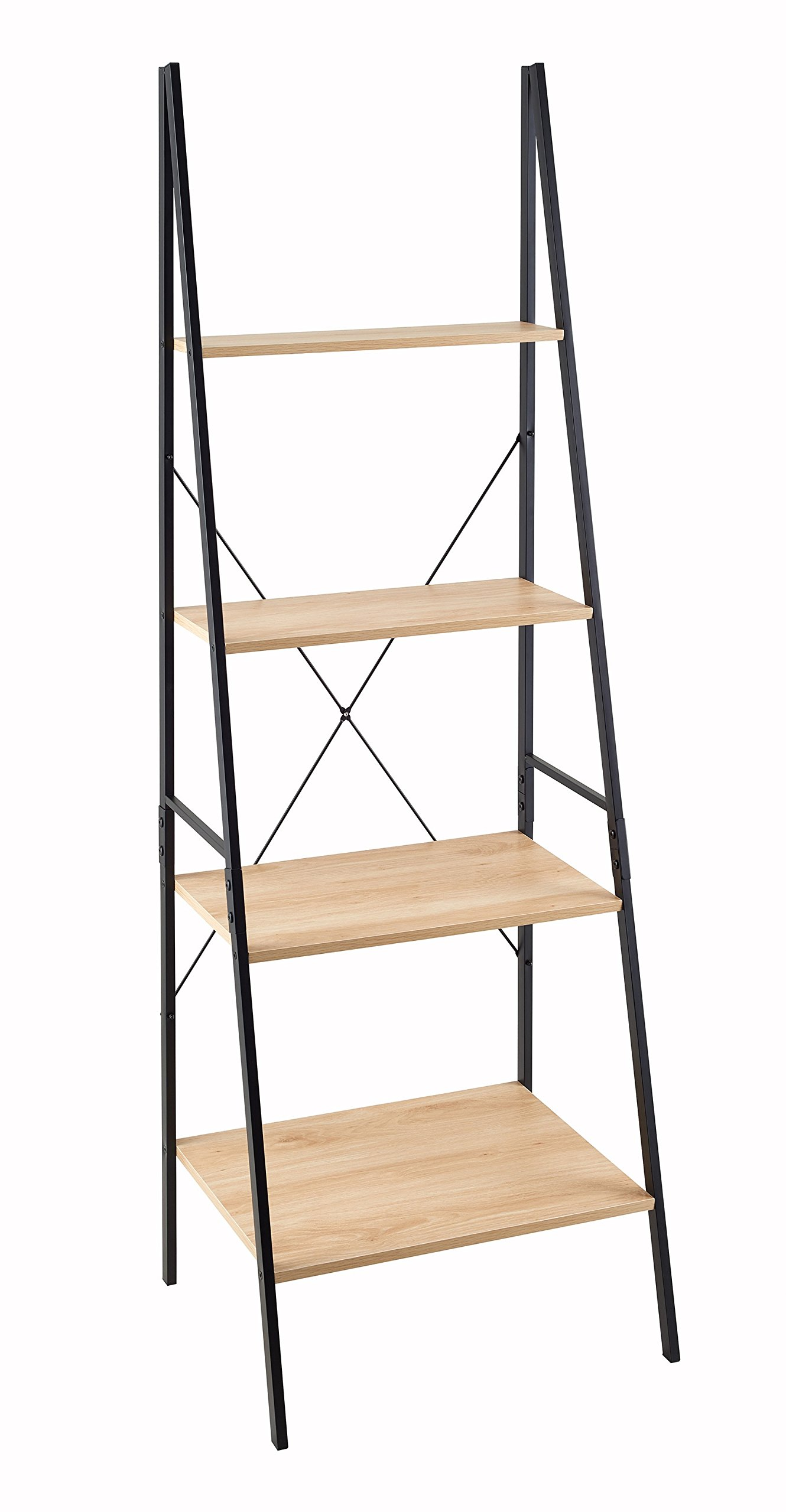 ClosetMaid 1312 4-Tier Wood Ladder Shelf Bookcase, Natural