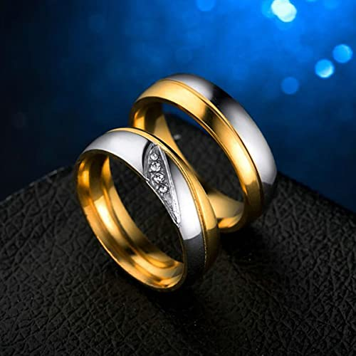 Tianyi Stainless Steel Wedding Ring CZ Inlay Engagement Band For His Her Comfort Fit Price for 1 Pcs