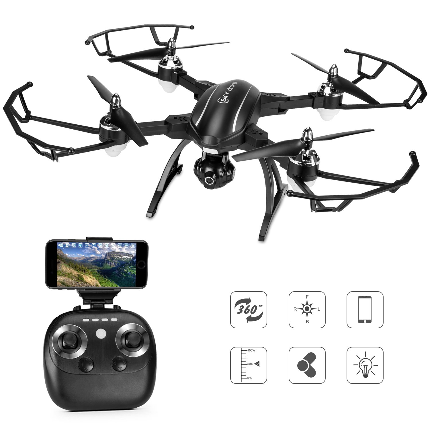 Drone With Camera Live Video, TOQIBO X34 FPV RC Drone with 120° Wide-angle 720P HD Wi-Fi Camera Foldable Drone RTF - Altitude Hold, One Key Take Off/Landing, 3D Flip, APP Control