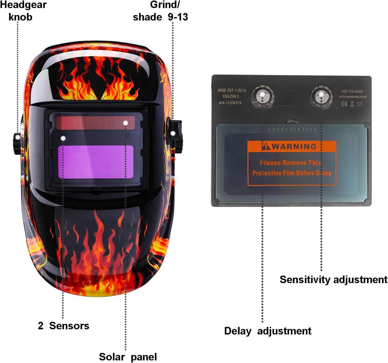 Solar Auto Darkening Welding Helmet LEATHER Mask for ARC TIG MAG Plasma Cutting