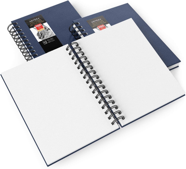 """espiral tapa dura azul 5.5x8.5/"""" Arteza Cuaderno de dibujo 100 hojas x 3 bol/ígrafo y medios secos para l/ápices de colores y grafito pack 3 blocs de dibujo 14 x 21,6 cm papel 100 GSM carb/ón"""