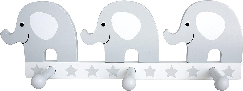 Jabadabado Kindergarderobe Elefant grau Wandhaken Kinder Garderobe Kleiderhaken Junge M/ädchen wei/ß Pastell