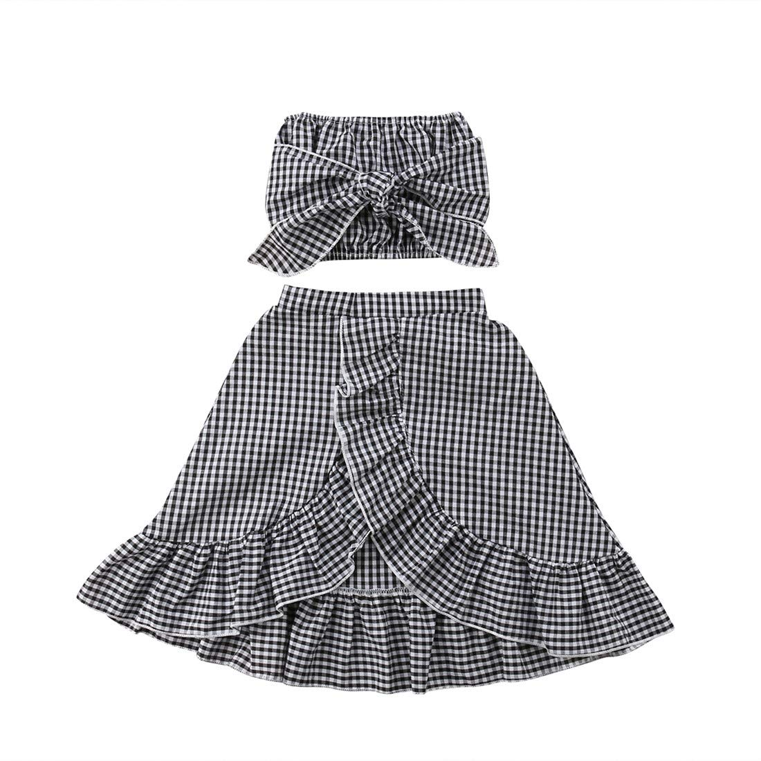 Baby Girl Toddler 2/3 Sleeve Black Crop Top + Grey Shorts Bowknot Skirts Outfit Clothes 2Pcs/ Set (Plaid, 6-12 Months)