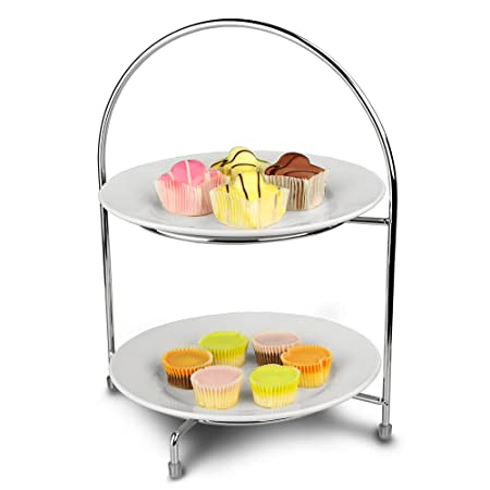 Utopia Chrome 2 Tier Cake Plate Stand 32cm with 23cm Plates - Afternoon Tea Stand  sc 1 st  Amazon UK & Utopia Chrome 2 Tier Cake Plate Stand 32cm with 23cm Plates ...