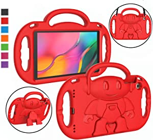 "LTROP Kids Case for Samsung Galaxy Tab A 10.1 (2019 Released) Model SM-T510/T515, Light Weight Shockproof Shoulder Strap Handle Stand Kids-Friendly Cover Case for Galaxy Tab A 10.1"" Tablet (Red)"