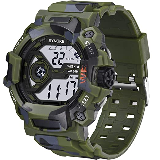 SYNOKE - Reloj electrónico para Hombre, Resistente al Agua, con diseño de Camuflaje, Pantalla Digital: Amazon.es: Relojes
