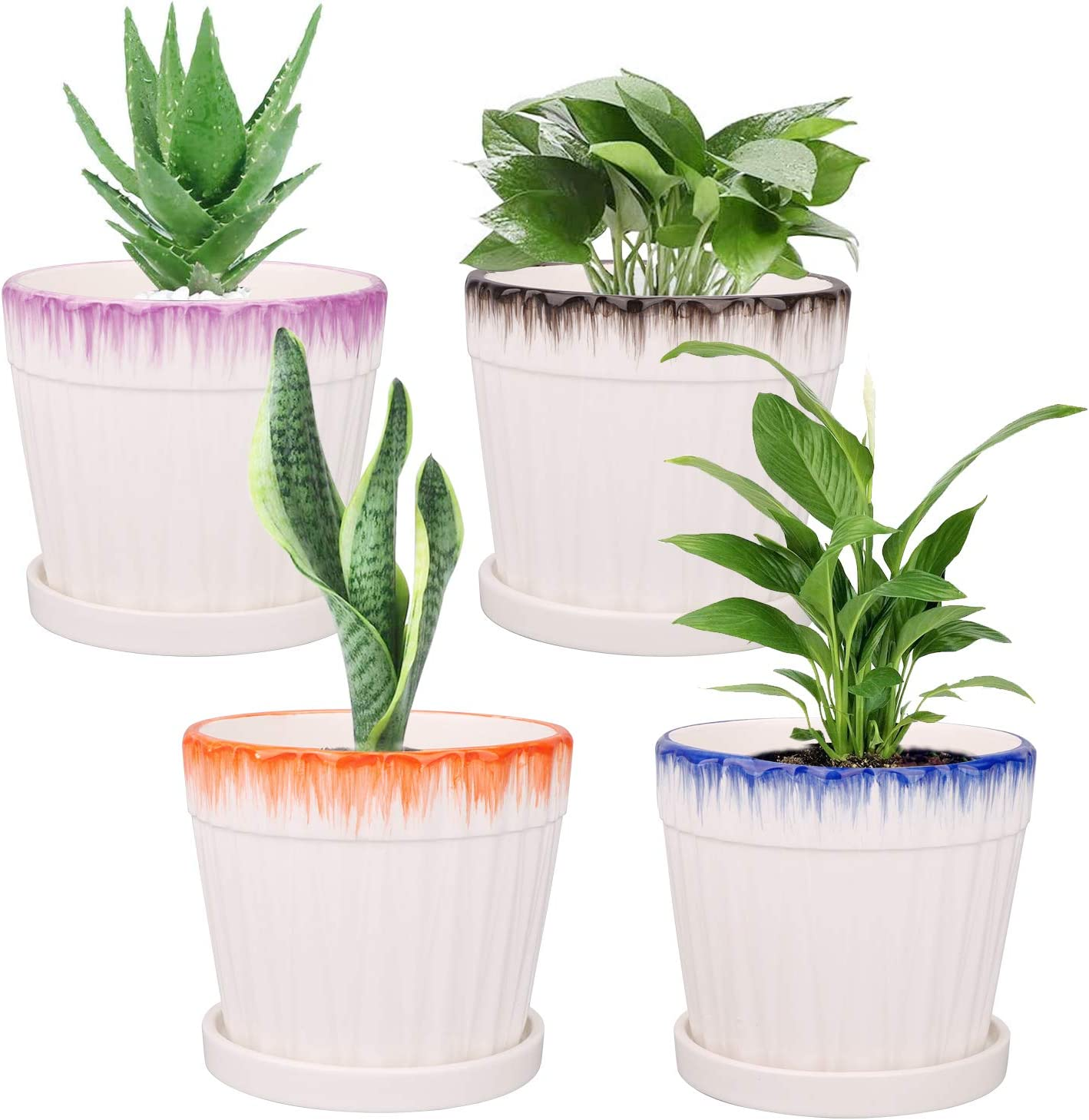 Flower Pots, Ufrount Ceramic Planter Pot with Drainage Holes, Succulent Planter Pots Planting Pot Flower Pots for Mini Plant Perfect for Garden, Kitchen, Windowsill - Set of 4 (5.5 Inches)