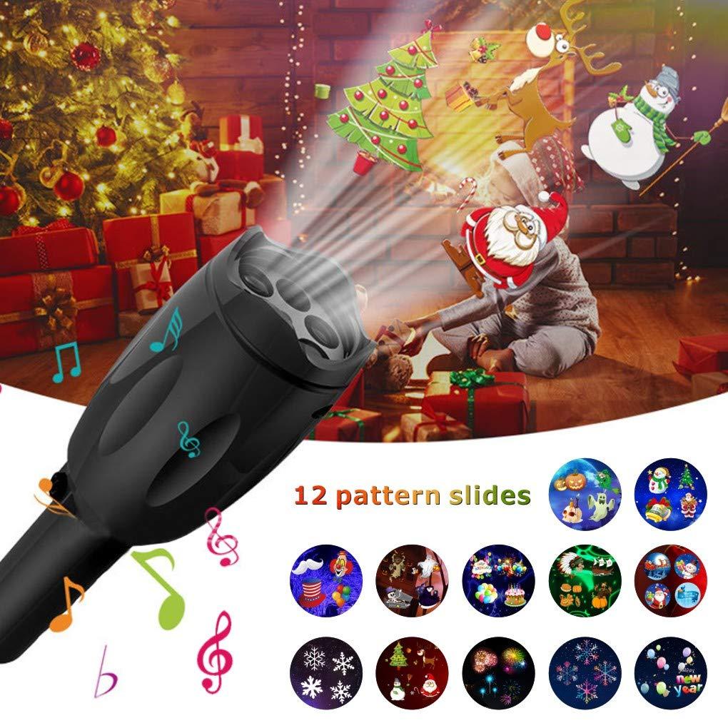 Luci natalizie, proiettore portatile LED Christmas Lights 12 vetrini proiezione con treppiedi torcia portatile per Natale di compleanno Idefair