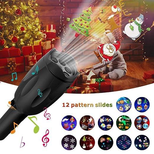 Proyector de luces de vacaciones, proyector de luces LED de mano para Navidad linterna de luz nocturna portátil