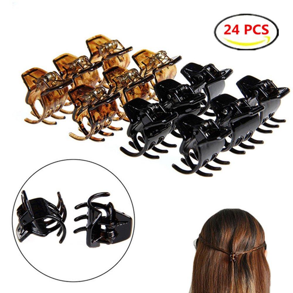 DWE Hair Pins, 24pcs Hair Bangs Mini Small Hair Claw Clip Hair Pin Flower Accessories For Women Girls Little girl (1A)